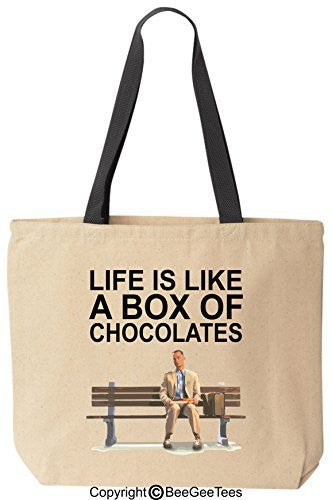 Life is like a box of chocolates! Funny Forrest Gump Canvas Tote by BeeGeeTees