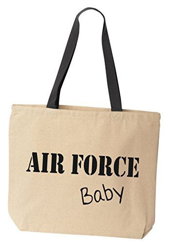BeeGeeTees AIR FORCE Baby Reusabe Tote Bag Black Handle