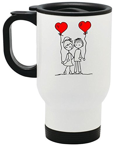 Friends In Love Stainless Steel Travel Mug Valentines Day Gift by BeeGeeTees® (14 oz)