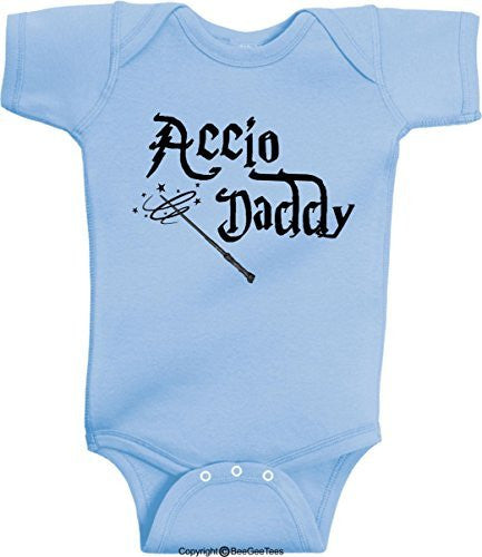 Accio Daddy Funny Harry Potter Baby Onesie by BeeGeeTees® (Unisex-Baby)