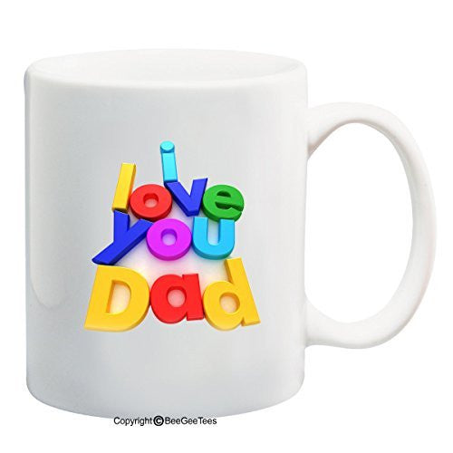 I Love You Dad 11 oz Mug Refrigerator Letter Magnets Happy Fathers Day by BeeGeeTees
