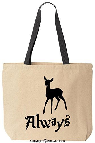 Always Patronus Funny Harry Potter Reusable Canvas Tote Bag by BeeGeeTees® (Black Handle)