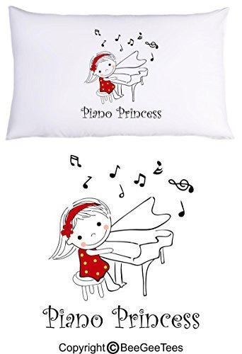 Piano Princess Funny Music Pillowcase Gift by BeeGeeTees® (1 Queen Pillowcase)