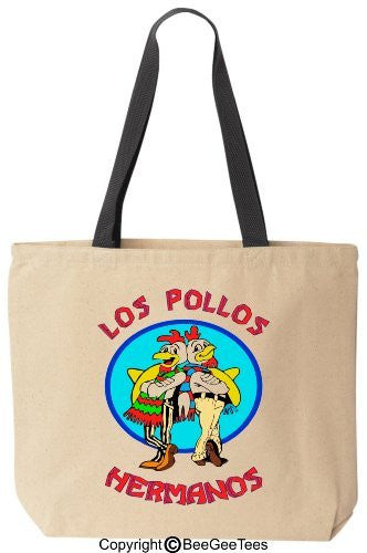 Los Pollos Hermanos - Funny Cotton Canvas Tote Bag - Reusable by BeeGeeTees 07860