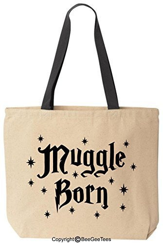 Muggle Born Stars Funny Harry Potter Reusable Canvas Tote Bag by BeeGeeTees® (Black Handle)