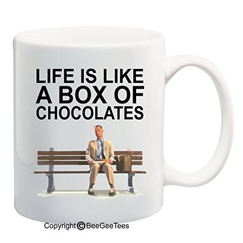 Life is like a box of chocolates! - Funny Forrest Gump Mug by BeeGeeTees (15 oz)