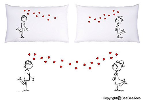 """Crazy In Love"" Couple Pillowcases Valentines Day GiftBeeGeeTees® (2 Queen Pillowcases)"