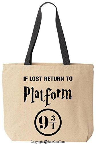 If Lost Return To Platform 9 3/4 Funny Harry Potter Reusable Canvas Tote Bag by BeeGeeTees®