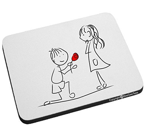"""Marry Me?"" Mouse Pad - Happy Valentines Day Gift by BeeGeeTees®"