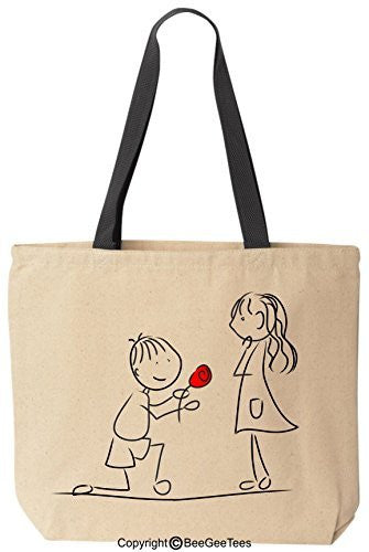 """Marry Me?"" Tote - Valentines Day Gift, Wedding Gift Canvas Bag by BeeGeeTees®"