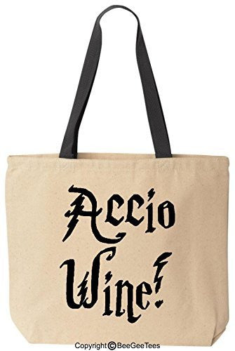 Accio Wine Funny Harry Potter Reusable Canvas Tote Bag by BeeGeeTees® (Black Handle)