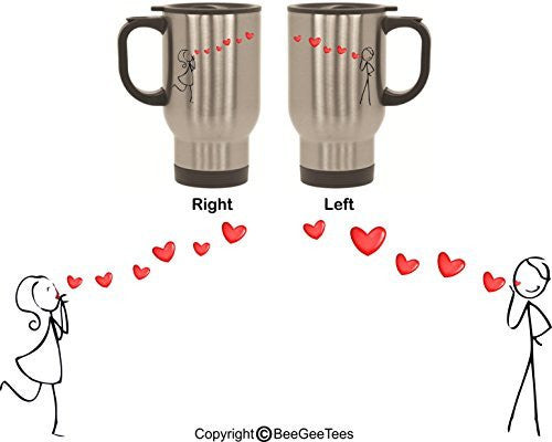 Sending Heart Kisses His and Hers Stainless Steel Travel Mugs by BeeGeeTees® (2 - 14 oz)
