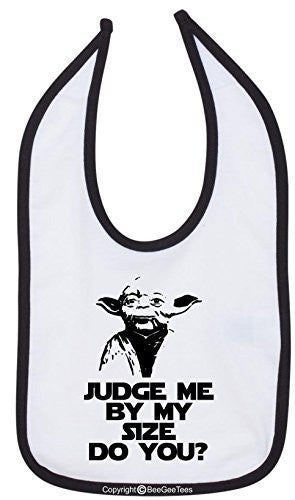 Judge Me By My Size Do You? Star Wars Yoda Funny Bib Multi-Color Trim by BeeGeeTees®