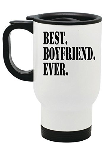 """Best Boyfriend Ever"" Stainless Steel Travel Mug Valentines Day Gift by BeeGeeTees® (14 oz)"