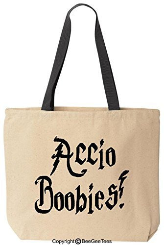 Accio Boobies Funny Harry Potter Reusable Canvas Tote Bag by BeeGeeTees® (Black Handle)