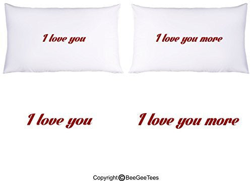 "Pillowcases ""I Love You More "" Super Soft Pillowcases-romantic Valentines Gifts for Couples, Cute Valentine Day Gift Idea"