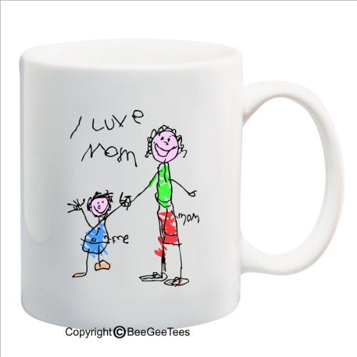 I Luve Mom - Happy Birthday or Mothers Day 15 oz Mug by BeeGeeTees 09672