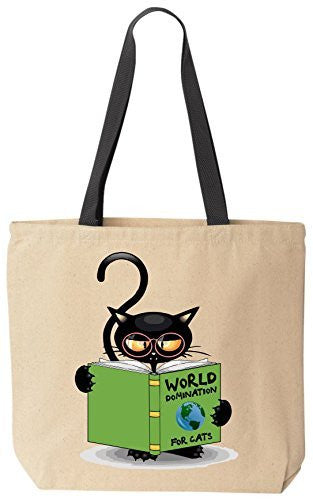 World Domination For Cats Funny Cat Lover Canvas Tote Bag for Grandma's Kitty Rescue