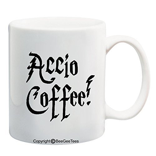 ACCIO COFFEE! - Funny Harry Potter Coffee or Tea Cup 11 / 15 oz Mug for Wizards by BeeGeeTees®
