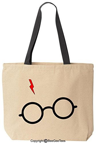 Harry Potter Glasses Scar Reusable Canvas Tote Bag by BeeGeeTees® (Black Handle)