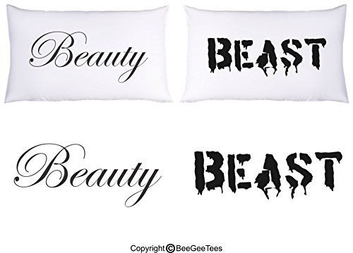 """Beauty Beast"" Couple Pillowcases - Valentines Day Gift by BeeGeeTees® (2 Queen Pillowcases)"