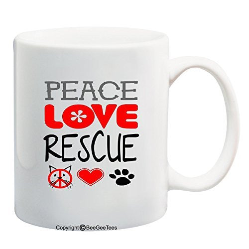 Peace Love Rescue Coffee or Tea Cup 11 oz or 15 oz Cat Rescue Mug by BeeGeeTees®
