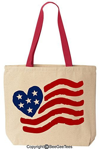 Red White and Blue USA Heart Flag - Patriotic Tote Bag - Reusable Canvas by BeeGeeTees 00740