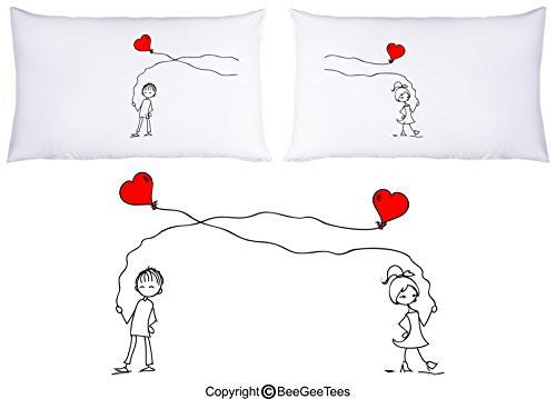 Entangled Hearts In Love Pillowcase Valentines Day Birthday Gift by BeeGeeTees® (2 Queen Pillowcases)