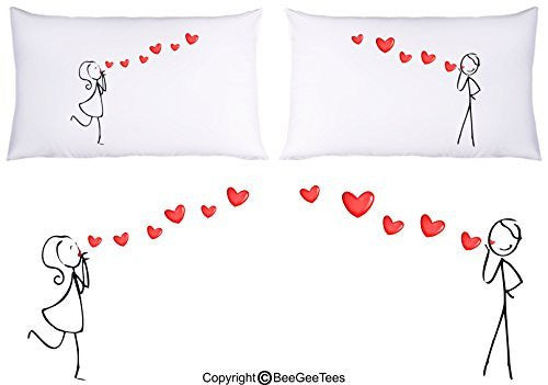 Sending Heart Kisses Couple Pillowcases Valentines Day Gift by BeeGeeTees® (2 Queen Pillowcases)