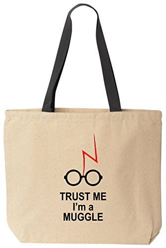 Trust Me I'm A Muggle - Funny Cotton Canvas Tote Wizard Bag - Reusable by BeeGeeTees