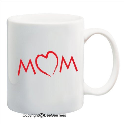 Mom with Heart - Happy Birthday or Mothers Day 15 oz Mug by BeeGeeTees 09530