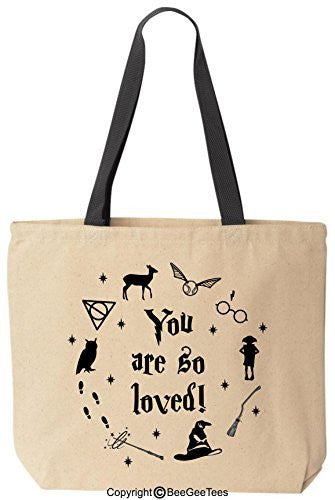 You Are So Loved Funny Harry Potter Reusable Canvas Tote Bag by BeeGeeTees® (Black Handle)