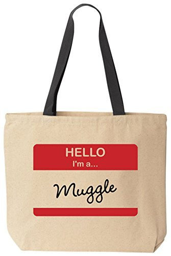 Hello I'm A Muggle - Funny Canvas Tote Wizard Bag by BeeGeeTees