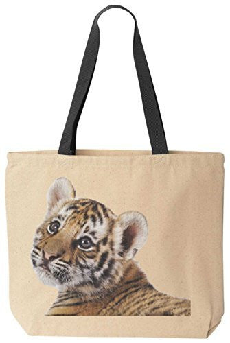 Baby Tiger Kitten - Reusabe Tote Bag Black Handle by BeeGeeTees
