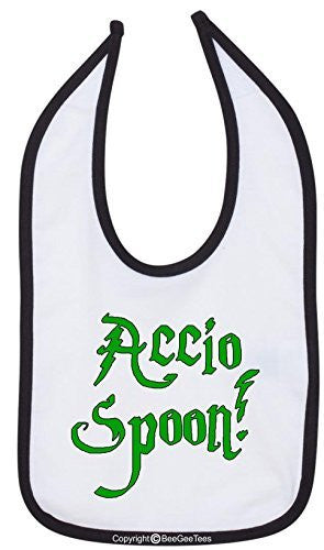 Accio Spoon Bib Funny Baby Shower Gift by BeeGeeTees 02284-BIB