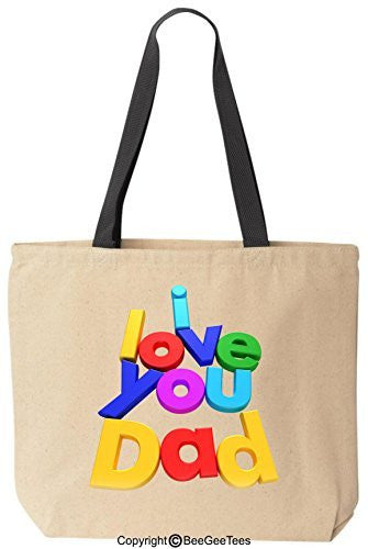 I Love You Dad Tote Valentines Day Fathers Day Gift by BeeGeeTees®