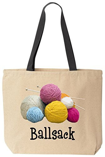 Ballsack Funny Cotton Canvas Tote Bag Reusable by BeeGeeTees