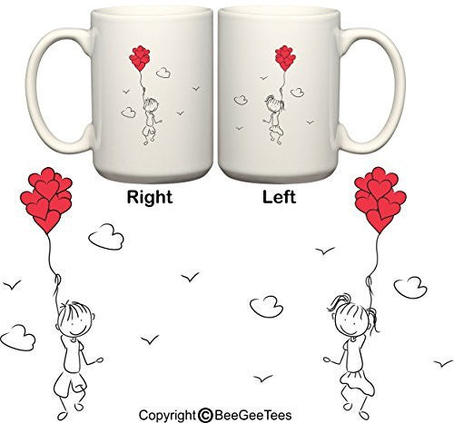 """Let's Fly Away Together In Love"" His & Hers Coffee Mugs Valentine's Day Gift by BeeGeeTees®"