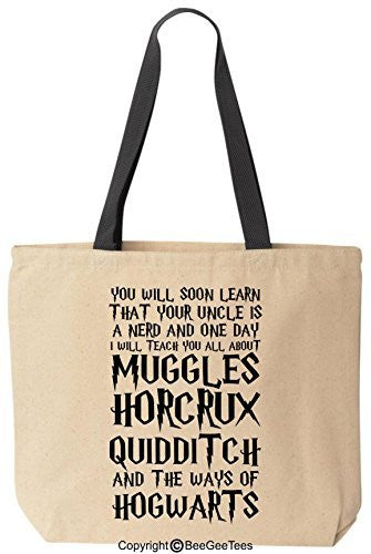 You Will Soon Learn That Your Uncle Is A Nerd Funny Harry Potter Canvas Tote Bag by BeeGeeTees