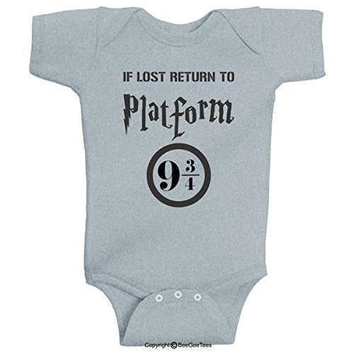 If Lost Return To Platform 9 3/4 Funny Harry Potter Baby Onesie by BeeGeeTees®