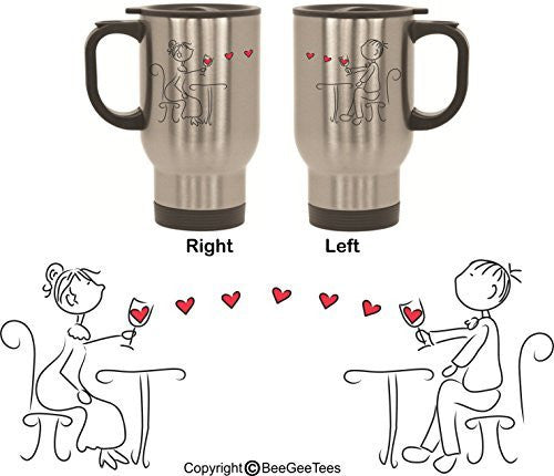 """Cheers My Dear"" His and Hers Stainless Steel Travel Mugs by BeeGeeTees® (2 - 14 oz)"