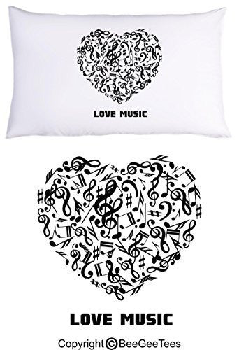 Love Music Funny Music Pillowcase Gift by BeeGeeTees® (1 Queen Pillowcase)