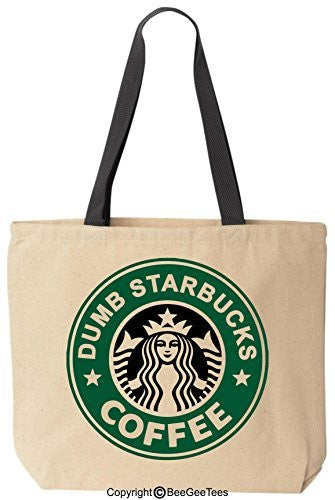 Nathan For You Dumb Starbucks Coffee Funny Tote Black Handle Bag by BeeGeeTees®