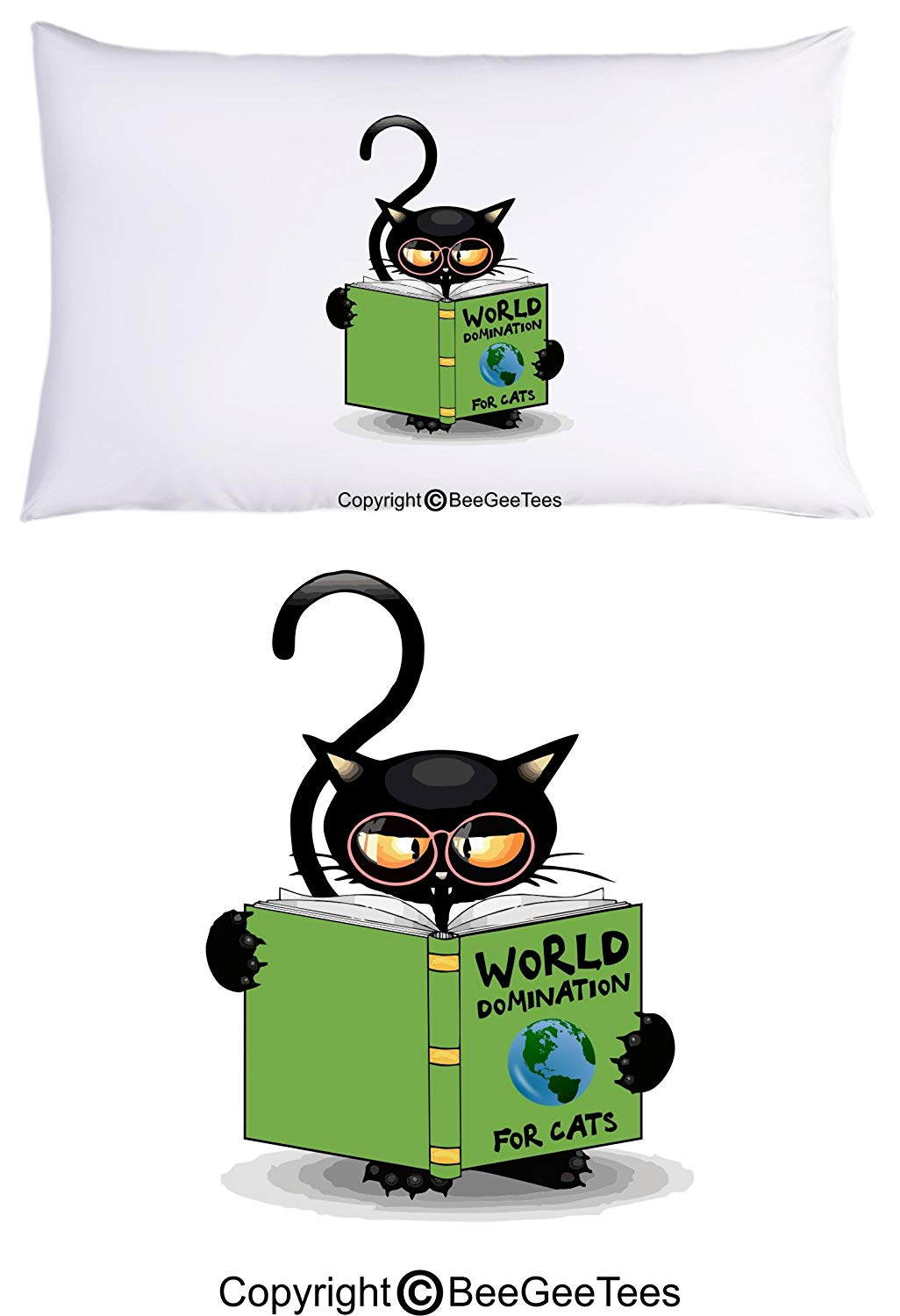 World Domination For Cats Funny Cat Lover Pillowcase by BeeGeeTees for Grandma's Kitty Rescue (1 Queen Pillowcase)