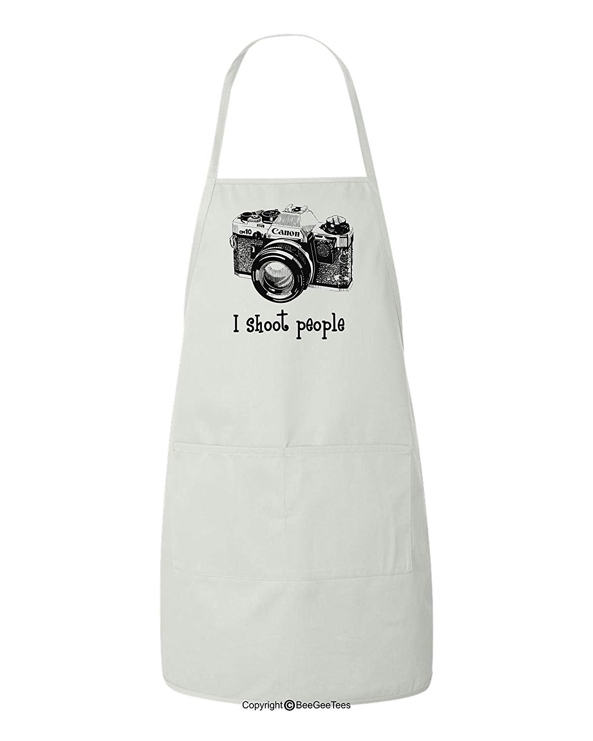 I shoot people Canon Camera Photography Funny BBQ Photographer Apron by BeeGeeTees