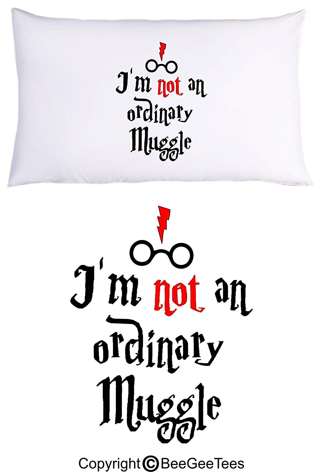 I'm Not An Ordinary Muggle Funny Harry Potter Inspired Hogwarts Wizard Pillowcase by BeeGeeTees (1 Queen Pillowcase)