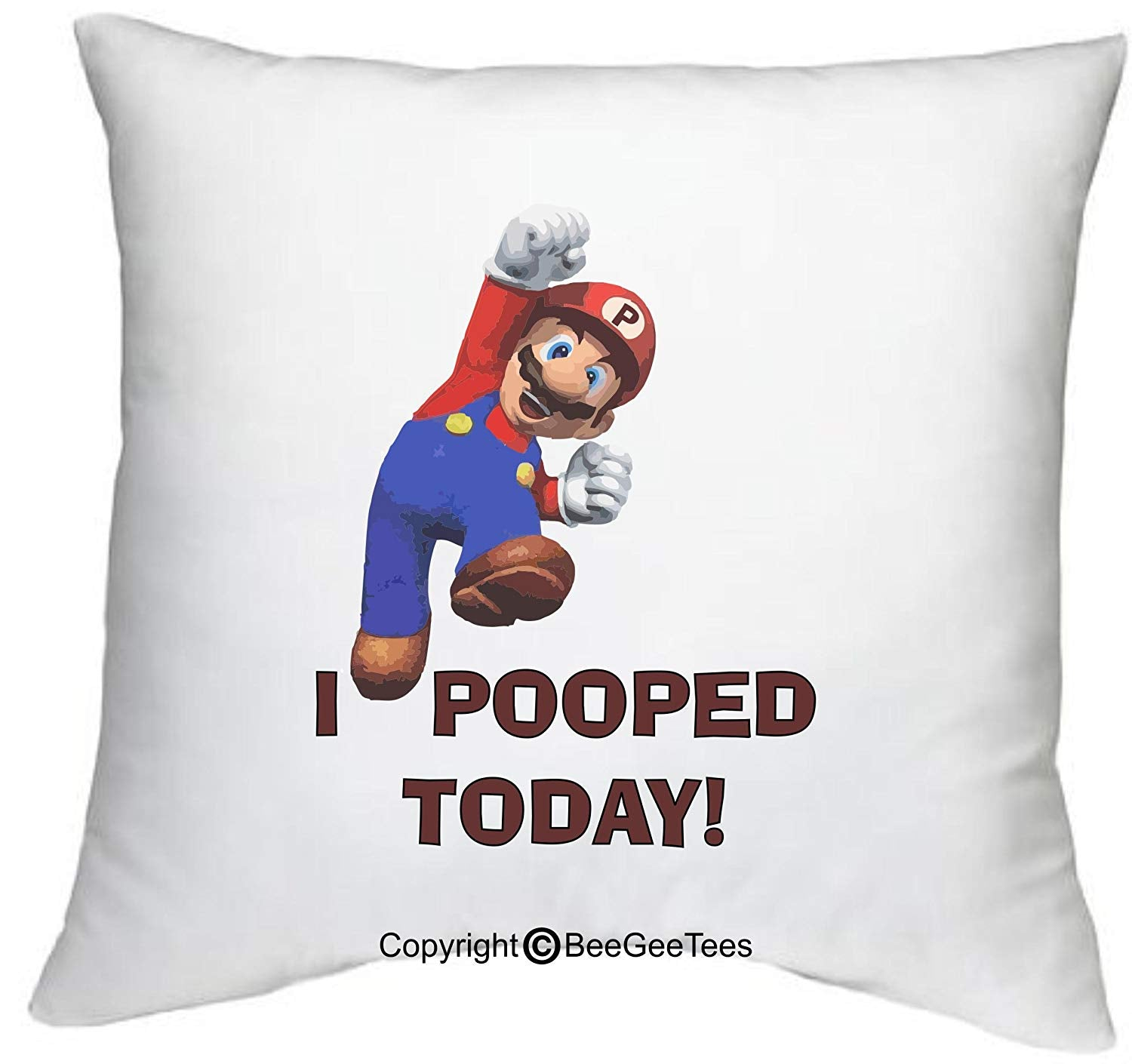 "BeeGeeTees I Pooped Today Mario Inspired Super Hero Funny 18"" x 18"" Zippered Superhero Pillow Cover"