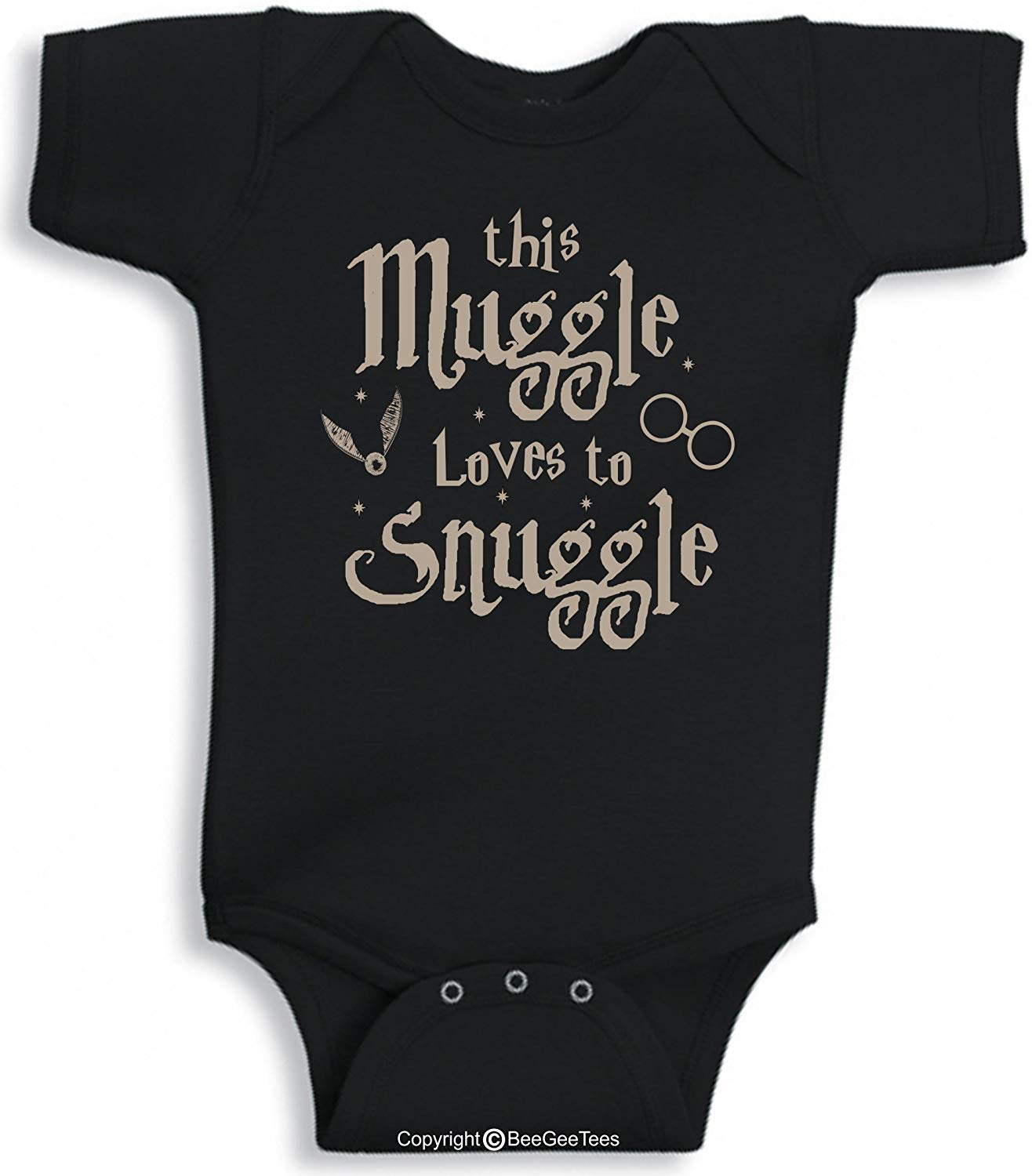 BeeGeeTees This Muggle Loves To Snuggle Funny Harry Potter Inspired Baby Wizard One Piece