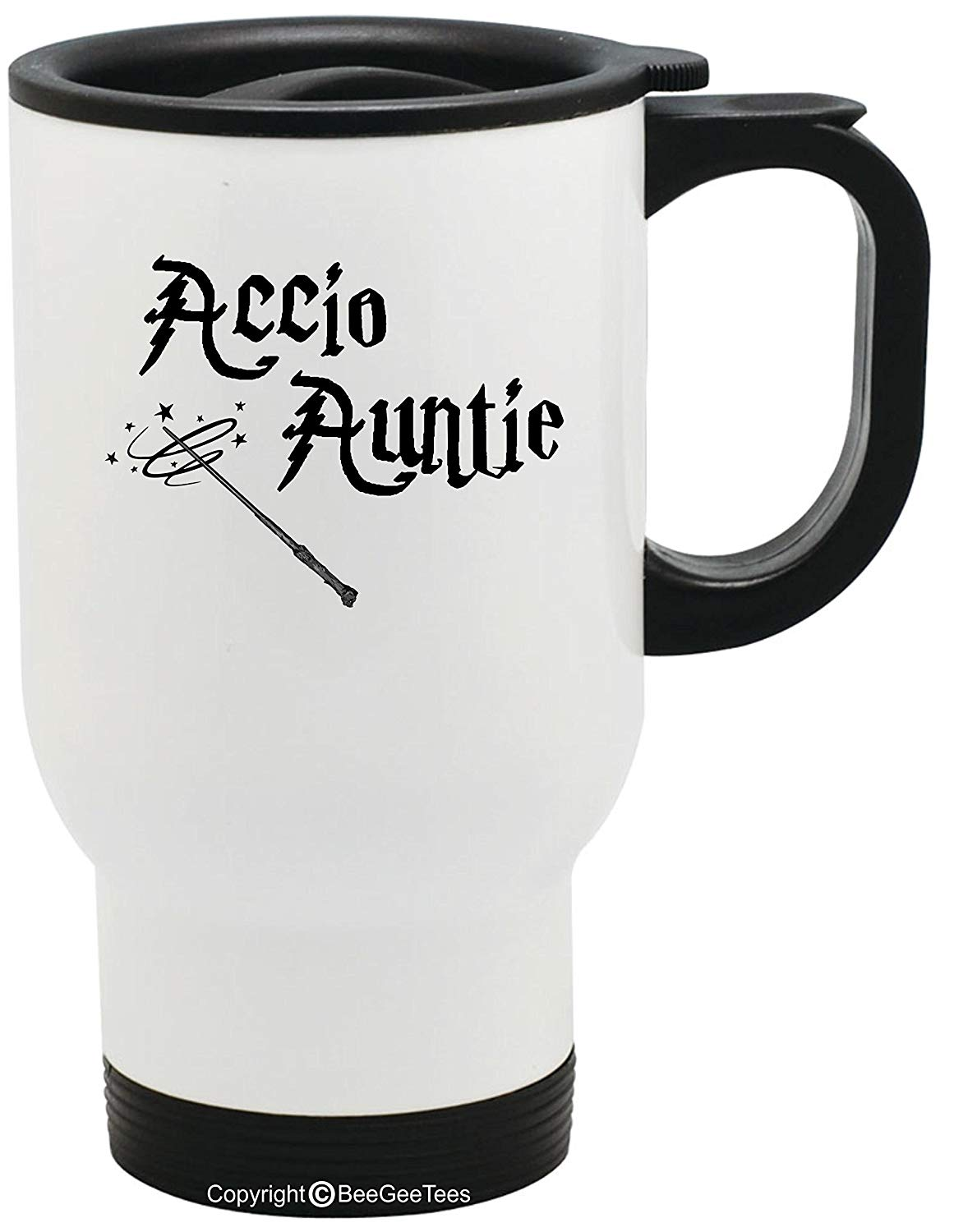 Accio Auntie Funny Harry Potter Inspired Stainless Steel Travel Mug for Wizards by BeeGeeTees (14 oz)