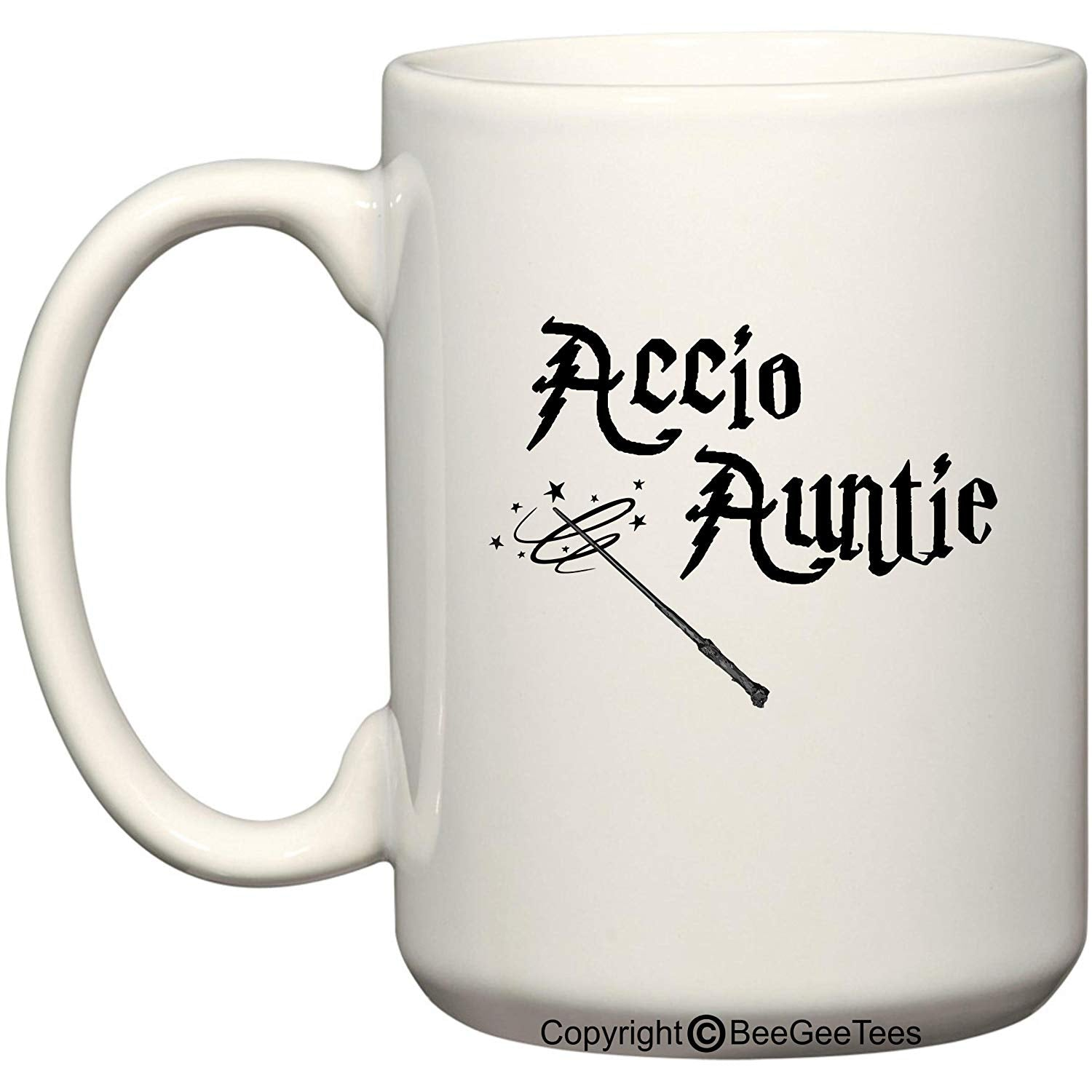 Accio Auntie Funny Harry Potter Inspired Coffee Mug or Tea Cup Wizards by BeeGeeTees
